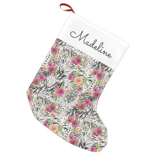 Pattern With Animal Prints | Add Your Name Small Christmas Stocking