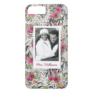 Pattern With Animal Prints | Add Your Photo & Name iPhone 8 Plus/7 Plus Case