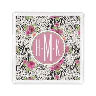 Pattern With Animal Prints | Monogram Acrylic Tray