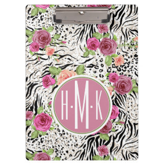 Pattern With Animal Prints | Monogram Clipboard