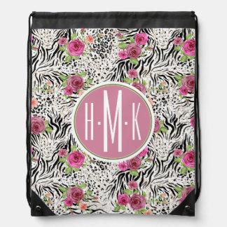 Pattern With Animal Prints | Monogram Drawstring Bag