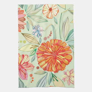 Pattern with asters tea towel