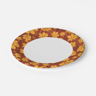 Pattern with autumn chestnut leaves 7 inch paper plate