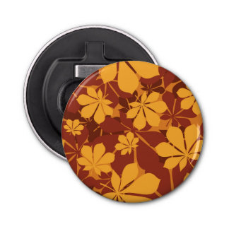 Pattern with autumn chestnut leaves bottle opener