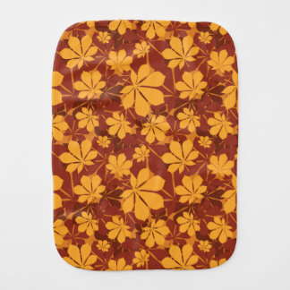 Pattern with autumn chestnut leaves burp cloth