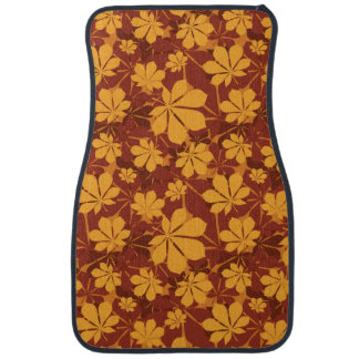 Pattern with autumn chestnut leaves car mat