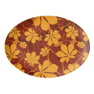 Pattern with autumn chestnut leaves porcelain serving platter