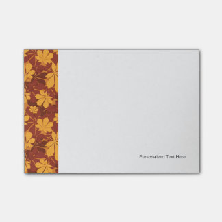 Pattern with autumn chestnut leaves post-it notes