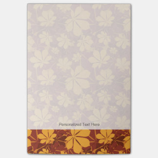 Pattern with autumn chestnut leaves post-it® notes