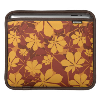 Pattern with autumn chestnut leaves sleeves for iPads