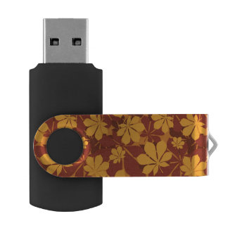 Pattern with autumn chestnut leaves USB flash drive