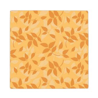 Pattern with autumn leaves wood coaster