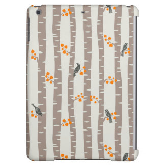 Pattern with autumn trees and birds