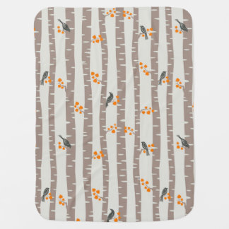 Pattern with autumn trees and birds baby blanket