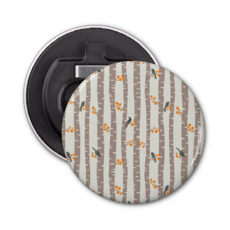 Pattern with autumn trees and birds bottle opener