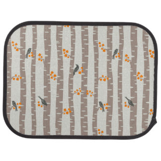Pattern with autumn trees and birds car mat