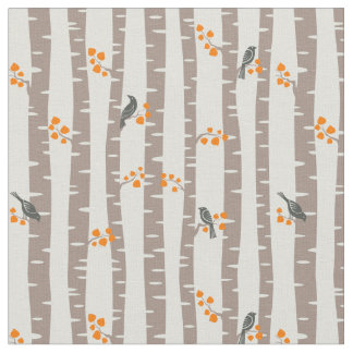 Pattern with autumn trees and birds fabric