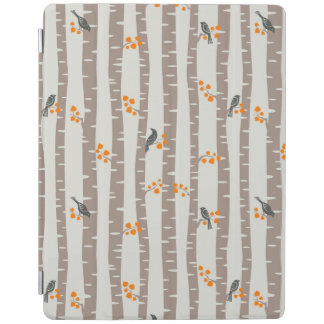 Pattern with autumn trees and birds iPad cover