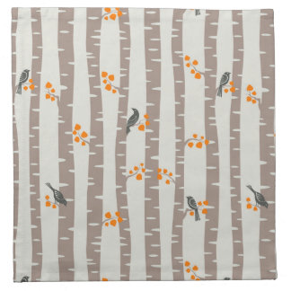 Pattern with autumn trees and birds napkin