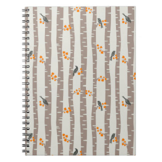 Pattern with autumn trees and birds notebooks