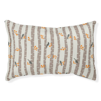 Pattern with autumn trees and birds pet bed