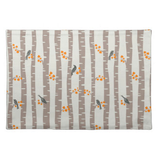 Pattern with autumn trees and birds placemat