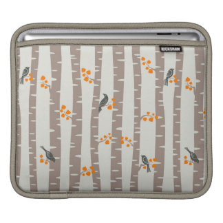Pattern with autumn trees and birds sleeves for iPads