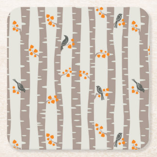 Pattern with autumn trees and birds square paper coaster