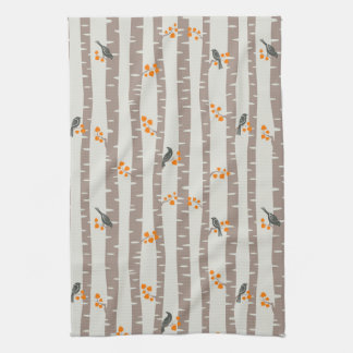 Pattern with autumn trees and birds tea towel