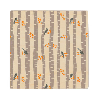 Pattern with autumn trees and birds wood coaster