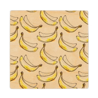 Pattern with banana wood coaster