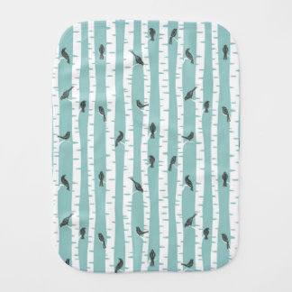 Pattern with birds and trees burp cloth
