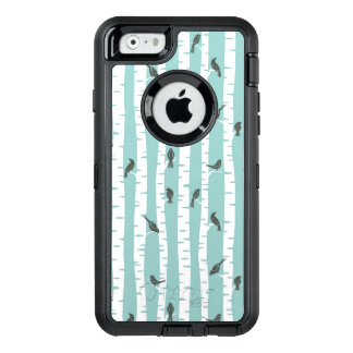 Pattern with birds and trees OtterBox defender iPhone case
