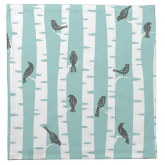 Pattern with birds and trees printed napkins
