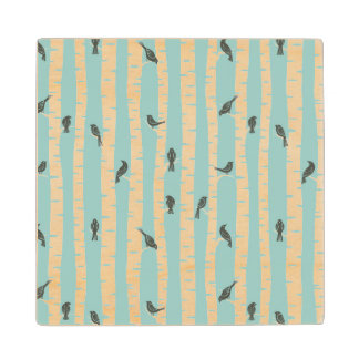 Pattern with birds and trees wood coaster