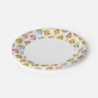 pattern with birds paper plate