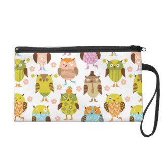 pattern with birds wristlet clutch