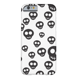 Pattern with black skulls on white barely there iPhone 6 case