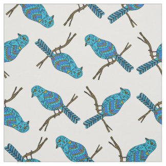 Pattern with Blue Birds Fabric