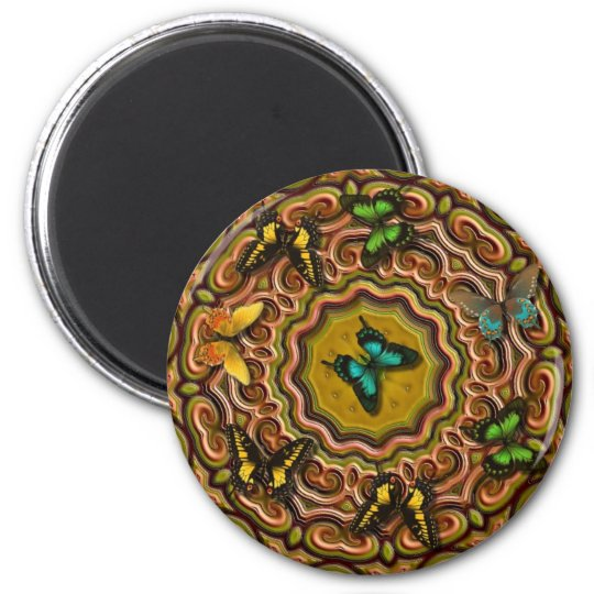 Pattern with Butterflies 6 Cm Round Magnet