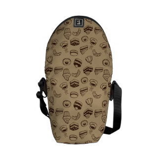 Pattern With Cakes, Desserts And Bakery Courier Bag