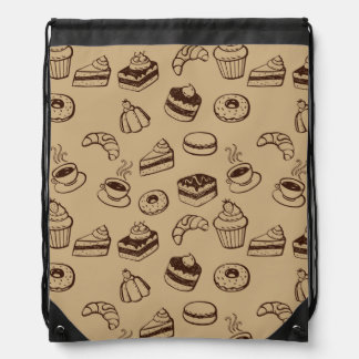 Pattern With Cakes, Desserts And Bakery Drawstring Backpacks