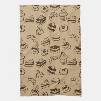 Pattern With Cakes, Desserts And Bakery Tea Towel