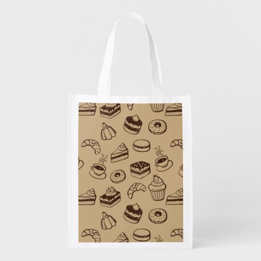 Pattern With Cakes, Desserts And Bakery Reusable Grocery Bag