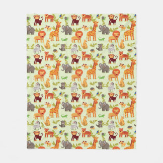 Pattern With Cartoon Animals Fleece Blanket