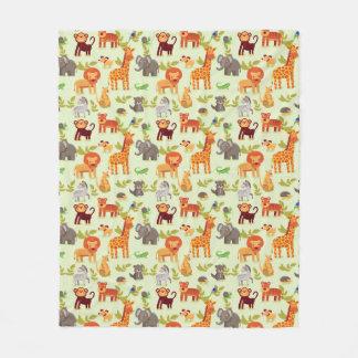 Pattern With Cartoon Animals Fleece Blanket