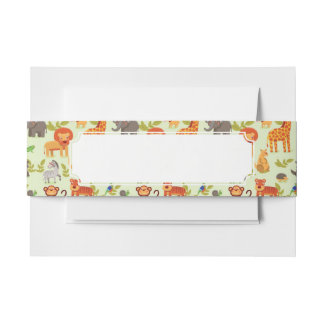 Pattern With Cartoon Animals Invitation Belly Band