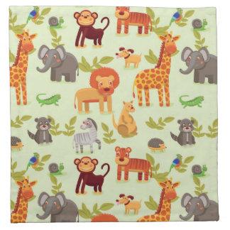 Pattern With Cartoon Animals Napkin