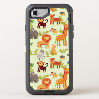 Pattern With Cartoon Animals OtterBox Defender iPhone 8/7 Case