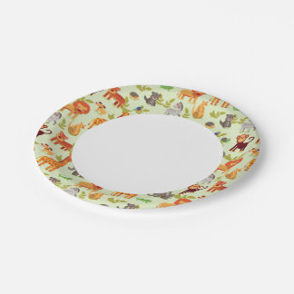 Pattern With Cartoon Animals Paper Plate